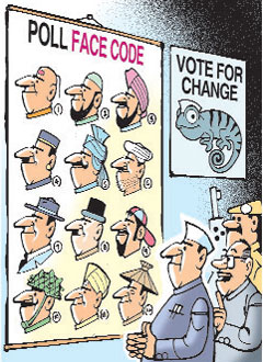 Bombay-High & Y2K generations has not produced venerable political leadership. Instead we have a collusive democratic leadership, which conspires against us. Divide and rule continues.  |  Ajit Ninan caroon with a caption that reads 'Today it's a make-up artist who gets you votes, not your speech writer.';  posted on Friday, February 17, 2012 at 02:17:47 AM; source & courtesy - Mumbai Mirror