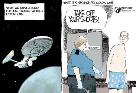 TSA seems to be getting away with the most intrusive body search by any agency in the world  |  Future Travel by Cameron Cardow editorial; cartoonist for the Ottawa Citizen;  Dec 14 2010.