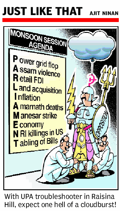 Will the Opposition collude, collaborate or confront?  |  Ajit Ninan cartoon on Aug 08 2012 from The Times Of India, Ahmedabad