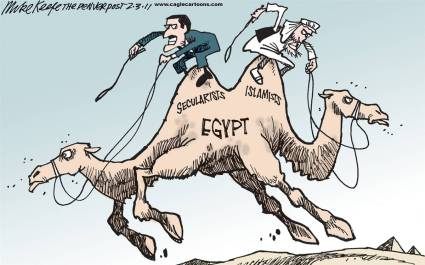 Will Egypt's future be an amalgam of Iranian Independent Islamism and China's aggressive economic growth model?  |  Cartoon title Egypt's Future by Mike Keefe on 02/03/2011; courtesy - intoon.com