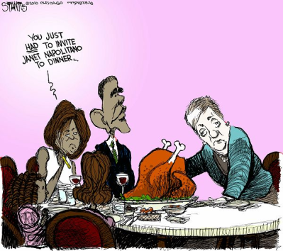 Janet Napollitano gives the Thanksgiving turkey the TSA treatment - after she had undergone the same  |  Scott Stantis cartoon from Thanksgiving 2010