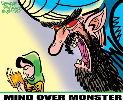 From Reagan to Obama, from Iran to Afghanistan, how US interventions have handcrafted the Islamic monster  |  Cartoon on Oct  16  2012  titled Mind Over Monster  by Cal Grondahl; source & courtesy - cagle.com