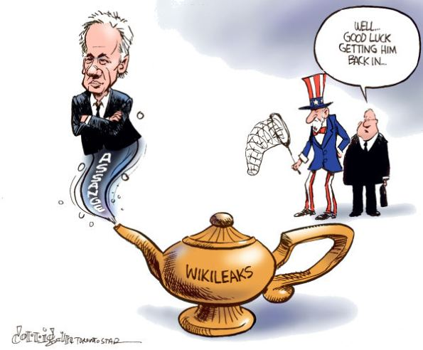 The persecution of Julian Assange has eroded West's liberal image.  |  Cartoon titled Genie Assange out of the bottle by Patrick Corrigan, The Toronto Star - 12/10/2010 12:00:00 AM; source & courtesy cagle.com