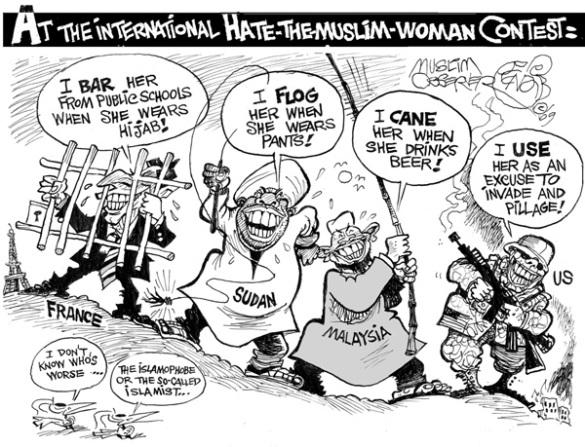 Hate The Muslim Woman cartoon by Khalil Bendib.
