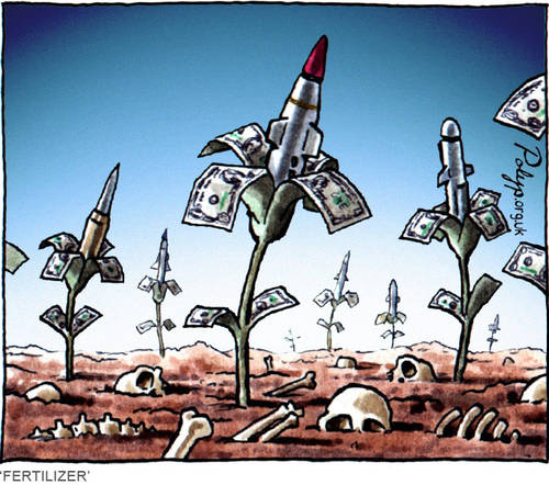 US, the world's largest arms' exporter, spreads the fertilizer of arms and ammuninution, which creates conflicts - and then US steps in to resolve these conflicts  |  Cartoon by Polyp.