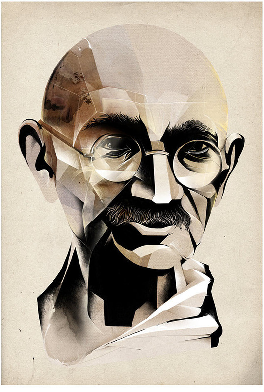 A portrait of Gandhiji by Illustrator: Alexey Kurbatov Location: Moscow, Russia