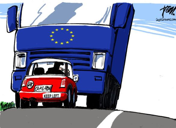 Britain is the cussed slow-driver on the Euro-bahn who will not let the Euro-truck overtake  |  Cartoon By Tom Janssen, The Netherlands - 12/12/2011 12:00:00 AM; source & courtesy - caglecartoons.com