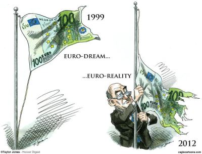 Is the EU going to be such a push-over? US would definitely hope so.  |  Euro-loser cartoon By Taylor Jones, Hoover Digest  -  4/24/2012 12:00:00 AM; source & courtesy - caglecartoons.com