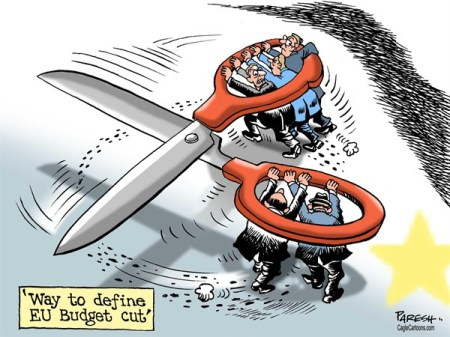 Compared the colossal debt that Britain is carrying, the EU budget is smaller issue.  |  Cartoon on  EU Budget cut row by Paresh Nath, The Khaleej Times, UAE  -  11/4/2012 12:00:00 AM; source & courtesy - caglecartoons.com