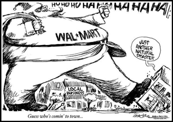Creating the next 10,000 small businesses will secure India's economic future.  |  Cartoon titled Big Bad WalMart By J.D. Crowe, Mobile Register - 12/6/2005 12:00:00 AM; via PoliticalCartoons.com Cartoon.