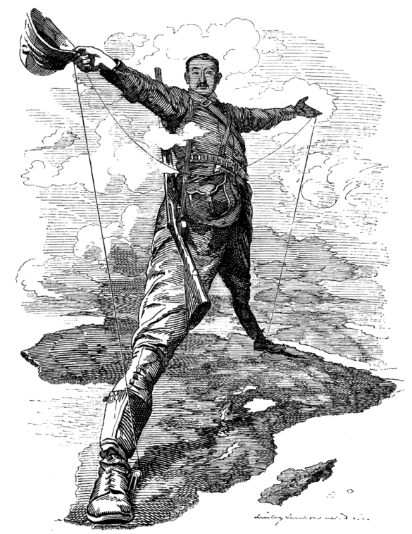 The scramble for Africa in the closing years of 19th century was a disaster for Africa  |  Cartoon by Edward Linley Sambourne (1844–1910) on The Rhodes Colossus: Caricature of Cecil John Rhodes, after he announced plans for a telegraph line and railroad from Cape Town to Cairo. on 10 December 1892 in Punch