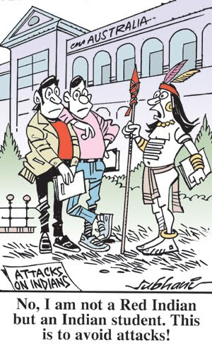 Brown Yummrikans want desi Indians to also camuflage themselves as 'progressive' and 'modern'.  |  Cartoon by Subhani on Thursday, January 7, 2010