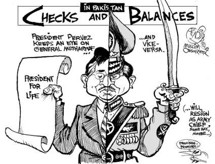 A schizoid Pakistan! Torn between military, rich landlords, regressive clerics, and a cynical US.  |  Two Musharrafs cartoon by Bendib on Saturday, October 13, 2007