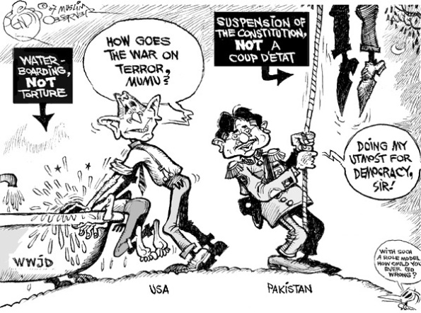Brothers in Arms  |  Cartoon titled Musharraf's Democracy by Bendib on Monday, November 12, 2007