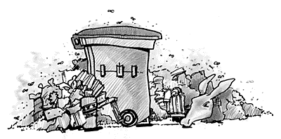 Sometime back, carcass parts were found in Cairo garbage bins - a public-safety hazard  |  Cartoon source & courtesy - ahram.org