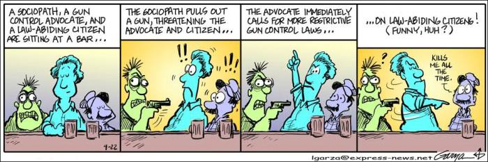 How the gun-control debate is getting hijacked.  |  Leo Garza cartoon featuring Nacho Guarache, his regular character, on April 22, 2007