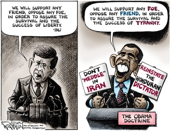 Reluctant Euro-media starts on anti-Obama campaign  |  2009 Cartoon by William Warren