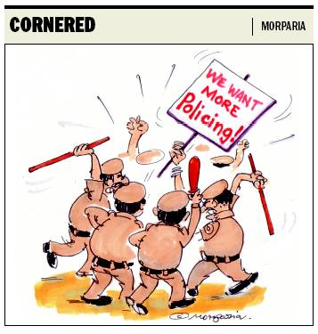 More police will mean more police brutality  |  Cartoon by Morparia in Mumbai Mirror on December 31, 2012