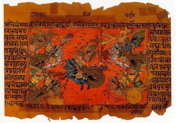 Page from an illustrated Mahabharata manuscript - probably 18th century.  |  Source wikipedia.