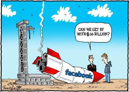 Facebook and Twitter have been fnded by the US Treasury department through the Federal Reserve, via its various franchisee banks.  |  Cartoon By Bob Englehart, The Hartford Courant  -  5/23/2012 12:00:00 AM; souce & courtesy -  msnbc.com