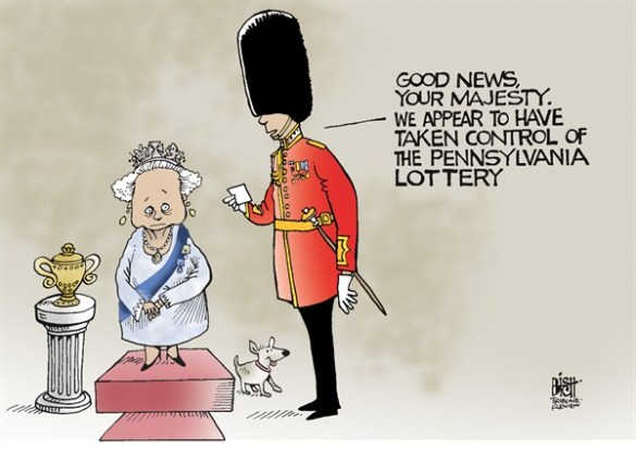 British companies are making third-grade acquisitions abroad - which is not helping British industry to stay the course  |  Cartoon on Jan  15  2013  by Randy Bish  via Cagle.com