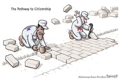 While making promises on one side - and erecting new obstacles.  |  Published: Wednesday, February 20th, 2013;  Immigration Reform cartoon by by Clay Bennett; source & courtesy - timesfreepress.com