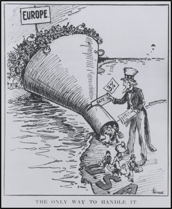 Was this cartoon a Government effort at building popular opinion on immigration in 1921 - before the passage of the Immigration Act (1924)?  |  A 1921 cartoon from the US Library of the Congress. Creative and publication credits not available at source.