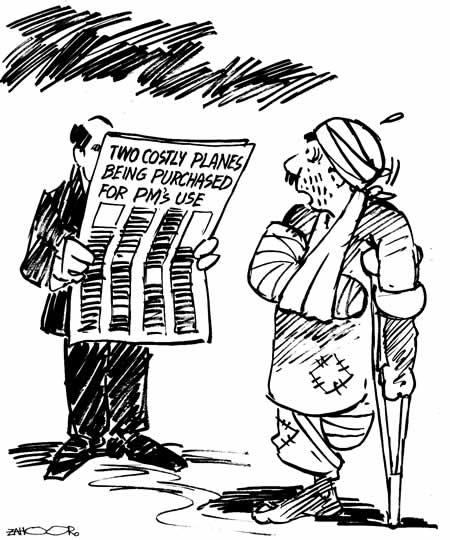 Will this man get taken in shiny projects?  |  Cartoon by Zahoor on November 22, 2005; image source & courtesy - dailytimes.com.pk