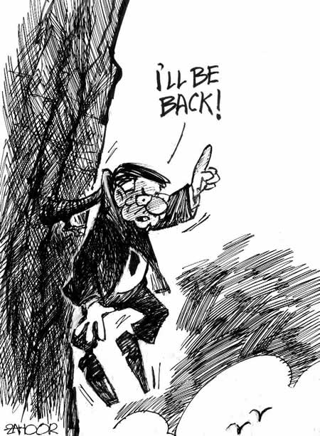 Apparently, Musharraf has lived up to his earlier threats. He has returned - to what? A nation that cannot imagine a role for him?  |  Cartoon by Zahoor on August 15, 2009; image source & courtesy - dailytimes.com.pk