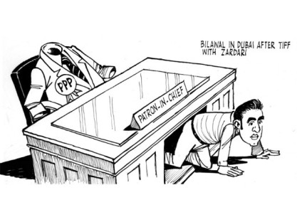 Who will do the electioneering for PPP - with Bilawal out of the country?  |  Cartoon by Sabir Nazar on March 28, 2013; image source & courtesy - tribune.com.pk