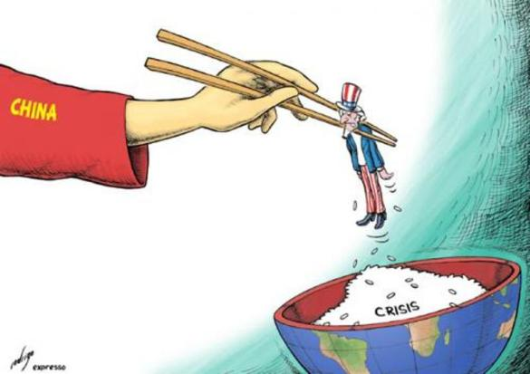 China lifts Uncle Sam; cartoon by rodrigo; on September 02, 2009  Published at www.expresso.pt on August 25th, 2009; source & courtesy - toonpool.com