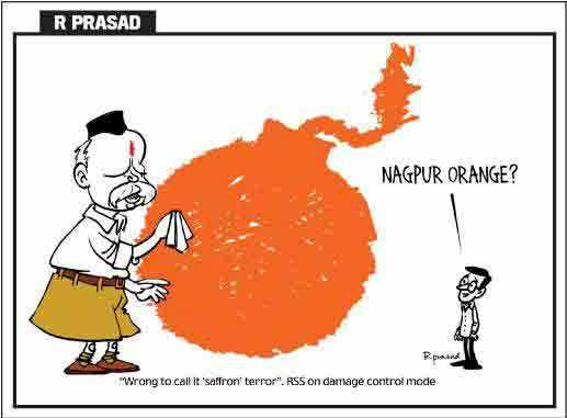 RSS has been a favorite whipping boy of the Congress  |  November 2010 cartoon by R.Prasad