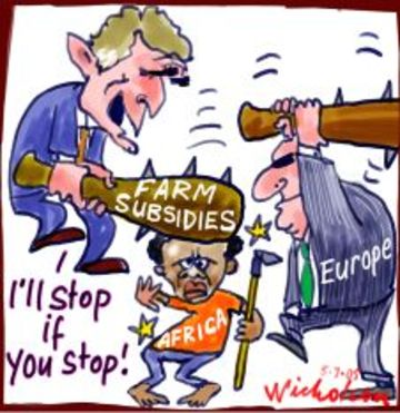 As Europe & US play out a charade of negotiations, it is Africa and Asia which is suffering from food shortages. | Cartoon by Peter Nicholson; on July 5, 2005; source & courtesy - nicholsoncartoons.com