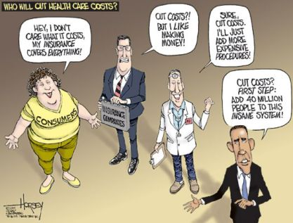 Who will cut health care costs? For instance in the US, the majority wants the State to increase its powers!  |  Cartoonist - David Horsey; Originally published on August 24, 2009; courtesy - sfgate.com  |  Click for larger image.