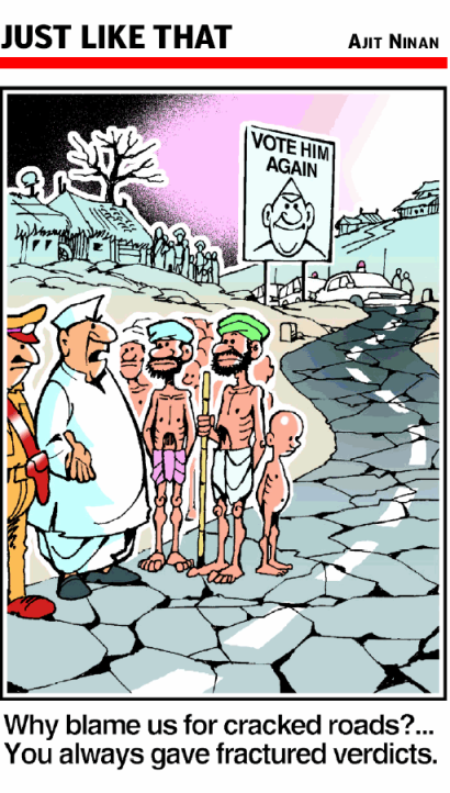 Democracy is a tool that finally lays blame for the crimes of the polity at the feet of the victim | Ajit Ninan cartoon | 2009 Apr 28 The Times Of India Bangalore | Click for image.
