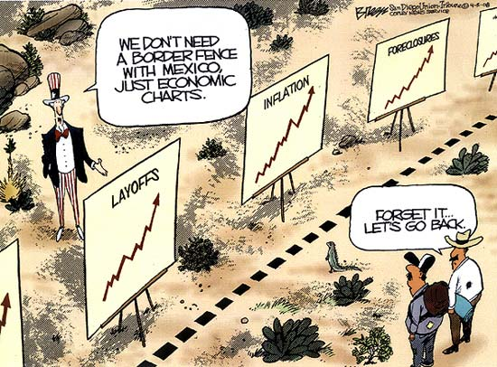 So, is this why US labor force has been stagnant for nearly five years? Immigration down to the US?  | Pulitzer prize winning cartoon by Steve Breen; in The San Diego Union-Tribune, on April 5, 2008