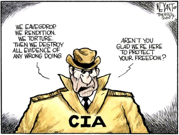 Over the last 40 years, the mantle of Spook King has passed on from Hoover's FBI to Director-CIA  |  Cartoonist Christopher Weyant in 2007 on CIA
