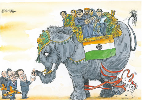 The Indian 'elephant' bows to English language, legacy and red-tape.  |  Cartoon by David Simonds; courtesy - guardian.co.uk, Sunday 25 July 2010 00.06 BST.