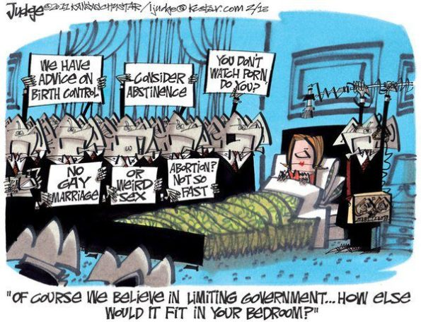 Between the State and the Church, we are seeing unprecedented levels of intervention in our sexual lives     Cartoon by Lee Judge on February 13, 2011