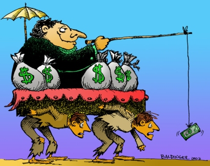 The West-dominated global financial system has pioneered a system that depends on mass-employment, low-entrepreneurial activity, excess production coupled with excess pollution and waste.  |  2003 Cartoon by David Baldinger