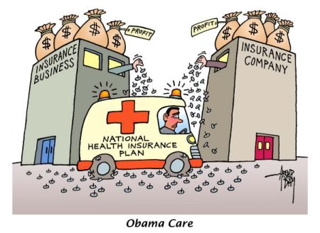 Not surprising that vested commercial interests who have been running an opaque medical system, are spending massive amounts of money in lobbying with their law-makers. This lobbing in USA, in India would be called bribes subvert a solution  |  Cartoon titled Obama Care By Arend Van Dam, source & courtesy - politicalcartoons.com on 3/26/2012 12:00:00 AM