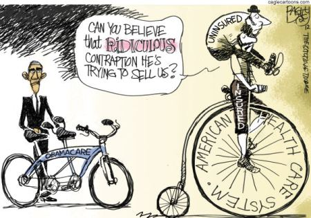 The Government bill, running into a reported 2700 pages has been challenged in the Supreme Court.  The current administrations point of view is that some solution is better than the rampant abusive cartelization that is presently the norm  |  Cartoon titled Obamacare Bike  By Pat Bagley, Salt Lake Tribune  -  3/27/2012 12:00:00 AM