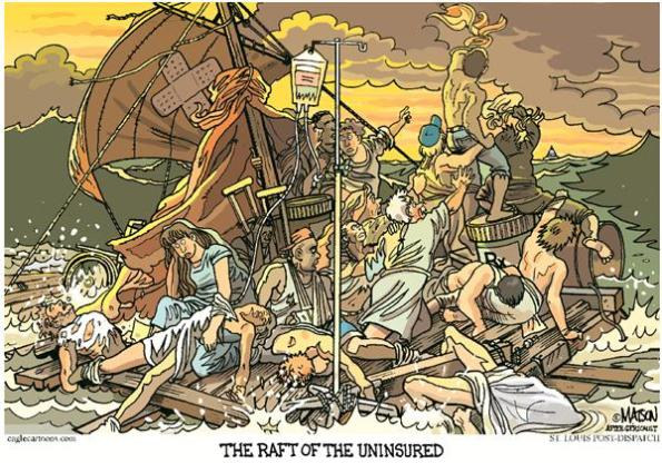 Around 20% of US residents do not have access to the US medical facilities on fair terms. This has been a long running racket in the US medical industry - and the US Government has made some ham-handed attempts at solving this problem.  |  Cartoon titled The Raft Of The Uninsured- By RJ Matson, The St. Louis Post Dispatch  -  11/21/2006 12:00:00 AM