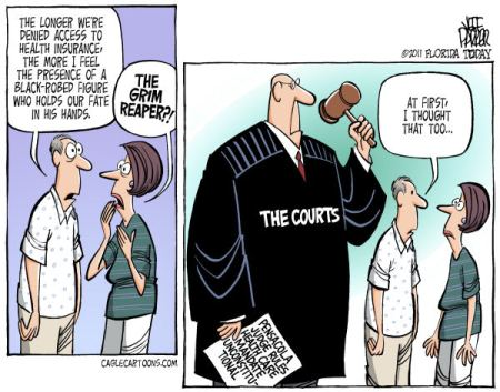 There are widespread expectations that the US Sureme Court may uphold a legal challenge to the latest Government proposal, on a rather simple count of a complexity.  |  Cartoon titled Death and Politics By Parker, Florida Today  -  2/2/2011 12:00:00 AM