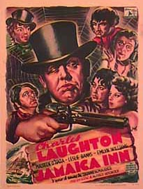 Smuggling, piracy and slave trade as an 'adventure'  | Poster for 1939 film, Jamaica Inn, a story about piracy and smuggling, based on a book by Daphne du Maurier; Starring - Charles Laughton, Maureen O'Hara, Director: Alfred Hitchcock.