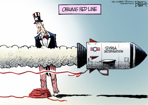Obama's red line finally turned out to be line in the sand  |  Cartoon by Nate Beeler on Aug 28, 2013 in media.cagle.com