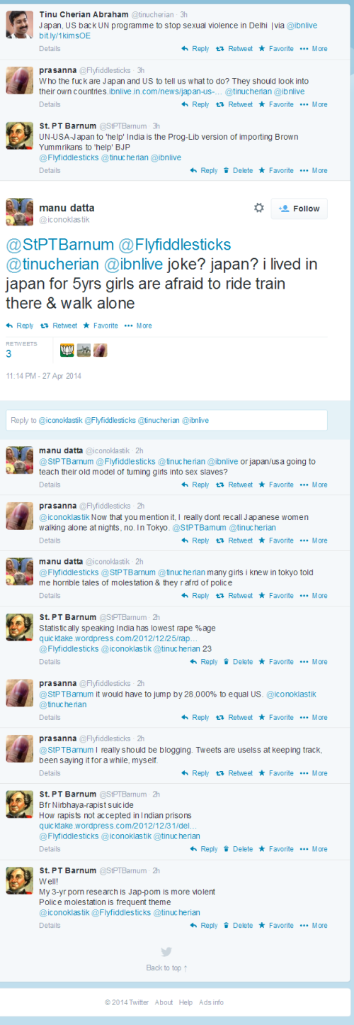 Twitter Exchange on the Topic of Rape & India