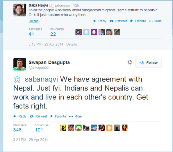 Twitter exchange between - swapan55- and @_sabanaqvi We have agreement ... Screen shot on 2014-04-30 03-35-10 | Click on image to go actual tweet message